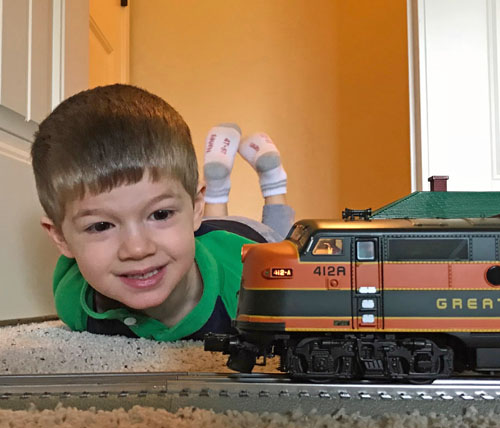 Anthony Costillo with the MTH O-Gauge Great Northern Western Star