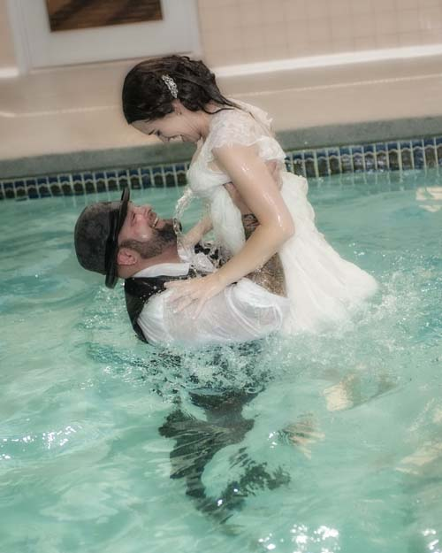 """Trash The Dress"" at Hilton Pool"